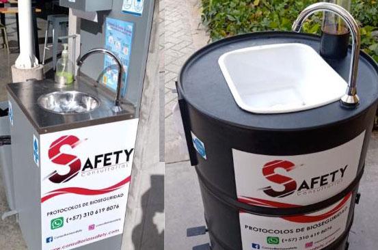 Estaciones de lavado portables para crisis de covid o coronovairus en Bogotá Colombia - Consultorias Safety